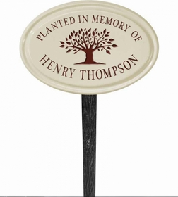 Whitehall Tree Memorial Ceramic Oval - Petite Lawn Address Sign - One Line - Red