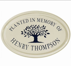 Whitehall Tree Memorial Ceramic Oval - One Line Petite Wall Plaque