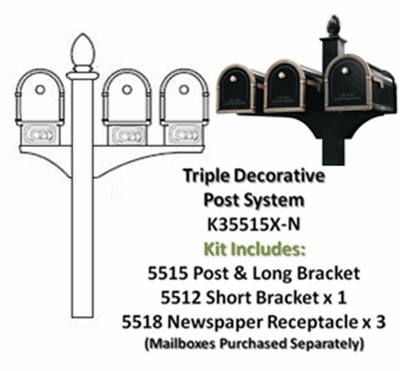 Triple Decorative Post System with Newspaper Receptacles (Mailboxes Purchased Separately)
