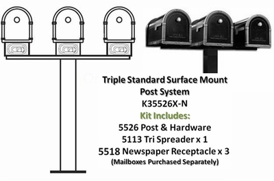 Triple Standard Surface Mount Post System with Newspaper Receptacles (Mailboxes Purchased Separately)