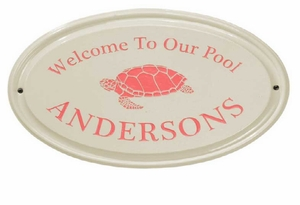 Whitehall Turtle Ceramic Oval - One Line - Standard Wall Plaque - Coral