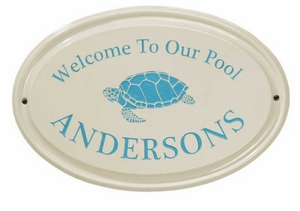 Whitehall Turtle Ceramic Oval - One Line - Standard Wall Plaque - Sea Blue