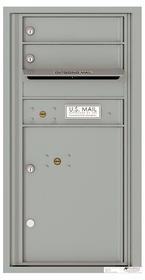 Versatile Front Loading Single Column Commercial Mailbox with 2 Tenant Compartments and 1 Parcel Locker