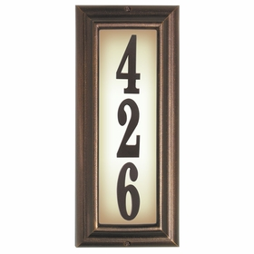Edgewood Vertical Lighted Address Plaque with Cast Aluminum Numbers - Antique Copper Frame