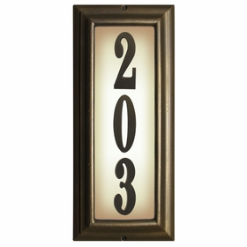 Edgewood Vertical Lighted Address Plaque with Cast Aluminum Numbers - French Bronze Frame