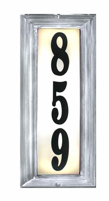 VERTICAL Lighted Address Plaque in Pewter