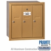 Salsbury 3503BRP Vertical Mailbox - 3 Doors - Brass - Recessed Mounted - Private Access