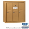 Salsbury 3503BSP Vertical Mailbox - 3 Doors - Brass - Surface Mounted - Private Access