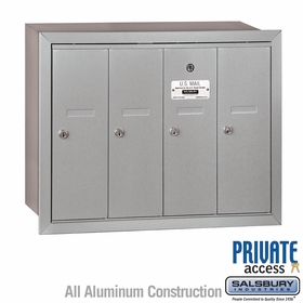 Salsbury 3504ARP Vertical Mailbox - 4 Doors - Aluminum - Recessed Mounted - Private Access