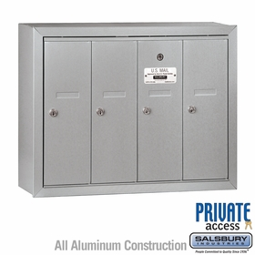 Salsbury 3504ASP Vertical Mailbox - 4 Doors - Aluminum - Surface Mounted - Private Access