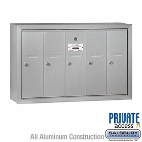 5 Doors Vertical Mailboxes - Surface Mounted - Private Access