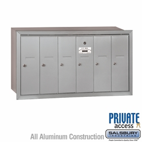 6 Door Vertical Mailboxes - Recessed Mounted - Private Access