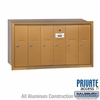 Salsbury 3506BRP Vertical Mailbox - 6 Doors - Brass - Recessed Mounted - Private Access