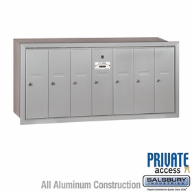7 Door Vertical Mailboxes - Recessed Mounted - Private Access