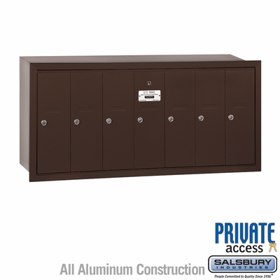 Salsbury 3507ZRP Vertical Mailbox - 7 Doors - Bronze - Recessed Mounted - Private Access