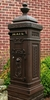 Victorian Tower Rear Access Mailbox - Rust Brown