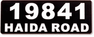 Vinyl Address Plaque With Name and Numbers
