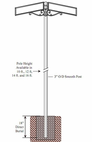 Vista Series 3inch O/D Smooth Breakaway Pole with Double Decorative Street Sign Mount and Cannon Ball Pole Topper