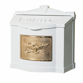 White Wall Mount Mailbox with Polished Brass Eagle Emblem
