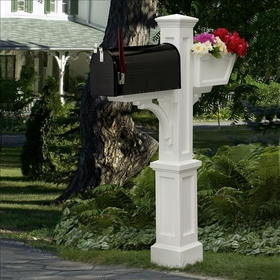 Westbrook Plus Mailbox Post White