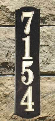Wexford Vertical Solid Granite Address Plaque With Engraved Text - Black