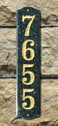 Wexford Vertical Solid Granite Address Plaque With Engraved Text - Emerald Green