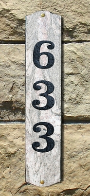 Wexford Vertical Solid Granite Address Plaque With Engraved Text - Five Color