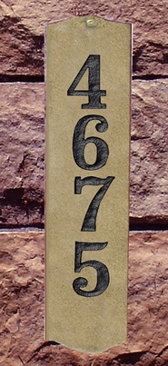 Wexford Vertical Solid Granite Address Plaque With Engraved Text - Sand Natural