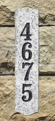 Wexford Vertical Address Plaque in White Natural solid granite w/Engraved Text