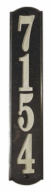 Wexford Vertical Solid Granite Address Plaque With Engraved Text - Black Polished Stone Color