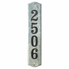 Wexford Vertical Solid Granite Address Plaque With Engraved Text - Quartzite Stone Color