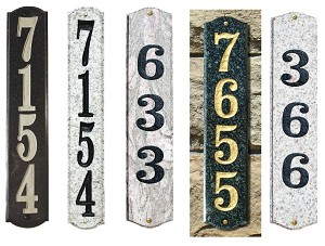 Wexford Vertical Solid Granite Address Plaque With Engraved Text - Sand Granite Natural Stone Color