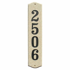 "Wexford Vertical ""Sand Granite Polished Stone Color"" Solid Granite Address Plaque"