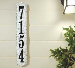 Wexford Vertical Solid Granite Address Plaque With Engraved Text - White Granite Natural Stone Color