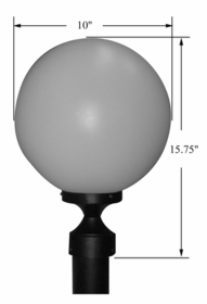 White Acrylic Sphere Post Mount Light- 10 inch