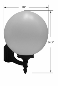 White Acrylic Sphere Wall Mount Light- 10 inch