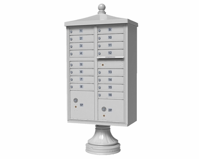 White Cluster Box Unit with Finial Cap and Traditional Pedestal accessories - 16 compartment