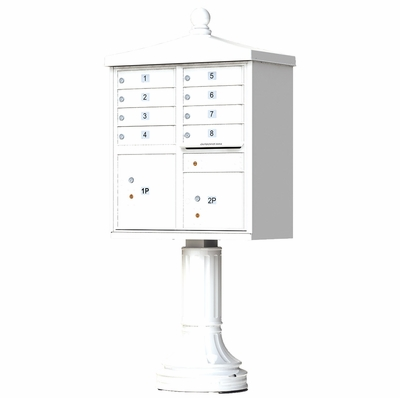 White Cluster Box Unit with Finial Cap and Traditional Pedestal accessories - 8 compartment