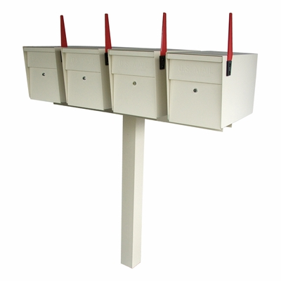 Ultimate High Security Locking Quadruple Mailbox & Post Package - White