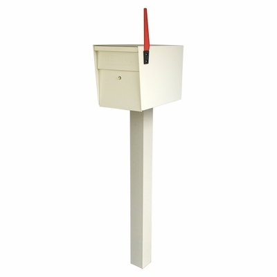 White Ultimate High Security Locking Single Mailbox & Post Package