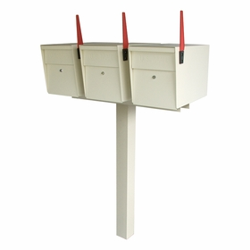 Ultimate High Security Locking Triple Mailbox & Post Package - White