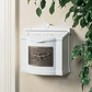 White Wall Mount Mailbox with Antique Bronze Eagle Emblem