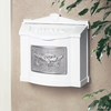 White Wall Mount Mailbox with Satin Nickel Eagle Emblem