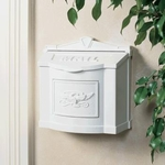 White Wall Mount Mailbox with White Eagle Emblem