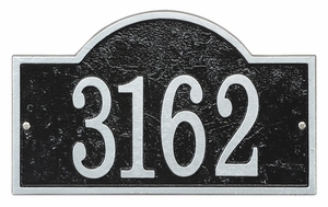 Whitehall Products Fast & Easy Arch House Numbers Plaque - Black / Silver Lettering