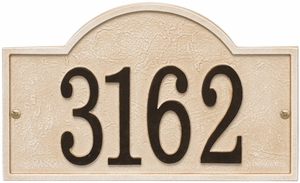 Whitehall Products Fast & Easy Arch House Numbers Plaque - Weathered Limestone / Dark Bronze Lettering