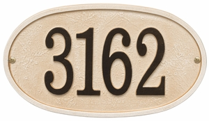 Whitehall Products Fast & Easy Oval House Numbers Plaque - Weathered Limestone / Dark Bronze Lettering