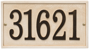 Whitehall Products Fast & Easy Rectangle House Numbers Plaque - Weathered Limestone / Dark Bronze Lettering