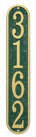 Whitehall Products Fast & Easy Vertical House Numbers Plaque - Green / Gold Lettering