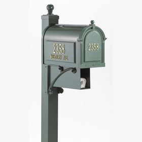 Whitehall Deluxe Westwood Curbside Mailbox Package and Newspaper Holder in Green (Optional Door Plaque)